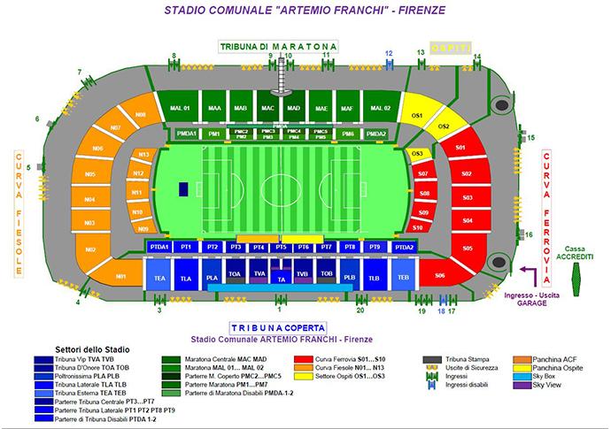 Stadio Franchi Stadionplan AC Florenz - Sitzplan
