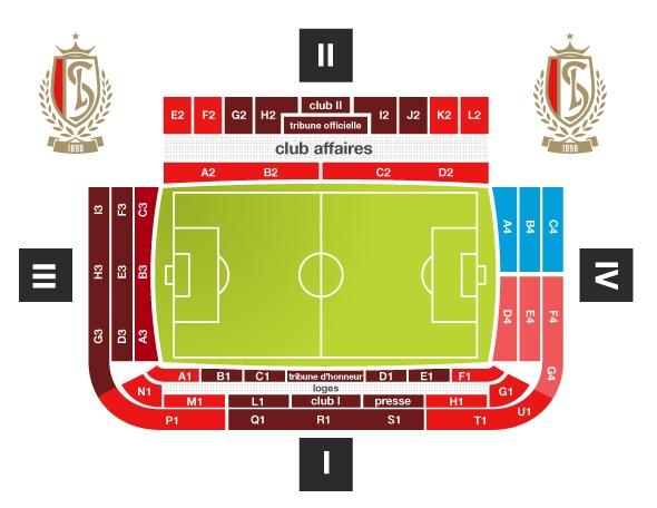 Stadionplan Standard Lüttich, Sitzplan Maurice-Dufrasne-Stadion