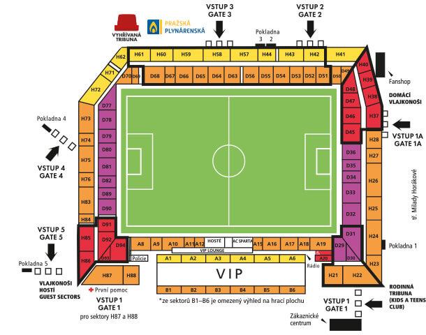 Sitzplan Stadion AC Sparta Prag, Stadionplan