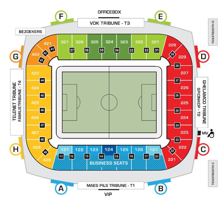 KAA Gent Stadionplan Ghelmaco Arena