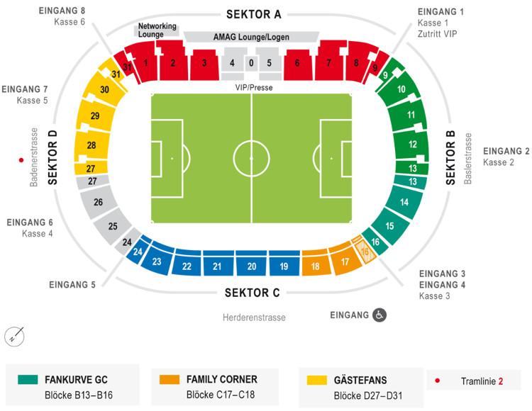 Stadionplan FC Zürich Letzigrund