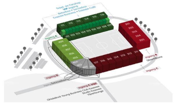 Regenboogstadion Zulte Waregem, Stadionplan